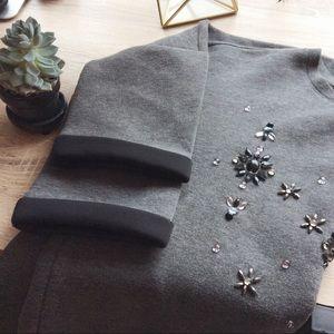 Jeweled dark charcoal sweater
